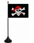Pirate One Eyed Jack Desk / Table Flag with plastic stand and base